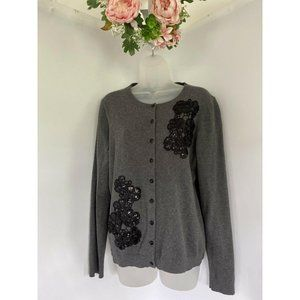 Womens Charter Club Gray Floral Sequined Cardigan